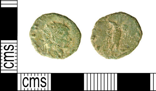 A resized image of Roman coin : Radiate of Claudius II deified