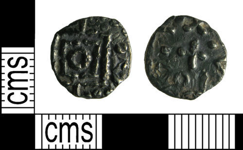 HAMP-3766E8: Early-medieval coin : Sceatta of continental series D, type 8
