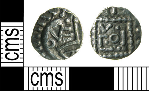 HAMP-6B73E6: Early-Medieval coin : Sceatta of E series (porcupine)