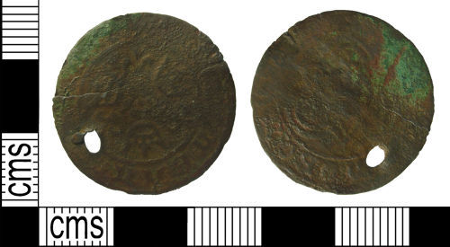 A resized image of Post-Medieval jetton : Anonymous stock issue rose/ orb jetton