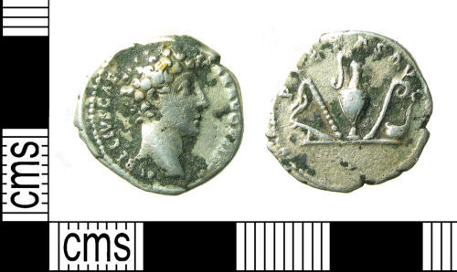 A resized image of Roman coin : Denarius of Marcus Aurelius as Caesar