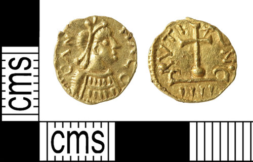 HAMP-38D124: Early-medieval coin : gold tremissis of the Merovingian 'National Coinage'