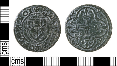 HAMP-47C259: Late medieval jetton : Tournai 'Shield of France Modern' issue
