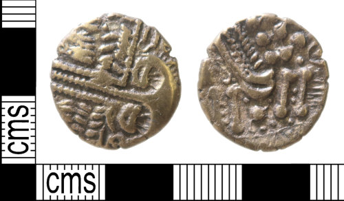 A resized image of Iron Age coin : stater of the Belgae, Rudd's 'Cheriton Smiler' type