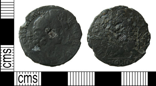 HAMP-7CA8F5: Post-medieval coin : tin farthing of William and Mary