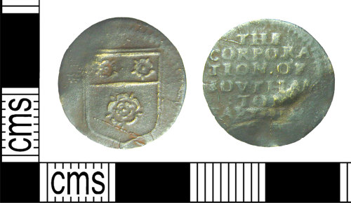 HAMP-92EB66: Post-medieval token : farthing trade token of the Corporation of Southampton