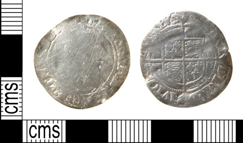 HAMP-95F106: Post-medieval coin : groat of Elizabeth I