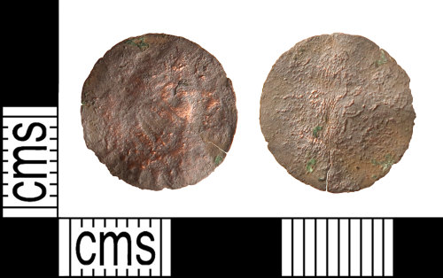 HAMP-F2B303: Post-medieval coin : copper farthing of James I or Charles I