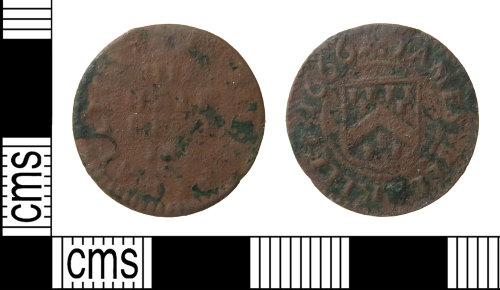 HAMP-F57774: Post-medieval token : halfpenny trade token of James Bllaklley of Bishops Waltham, Hampshire