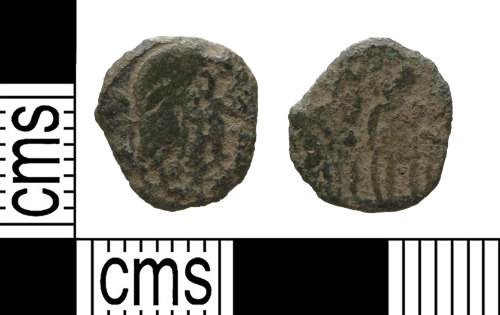 YORYM-7B63AD: Roman coin: possible contemporary copy of a nummus house constantine
