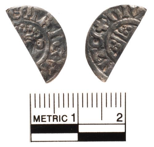 FAKL-FE8D83: Medieval coin, cut halfpenny of John