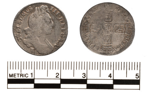 FAKL-80ADA2: Post Medieval coin, William III sixpence