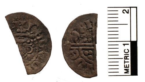 FAKL-B1DCEB: Medieval coin, cut halfpenny