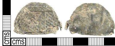 A resized image of A Post Medieval lead alloy toy furniture, a chest lid (16th – 17th century).