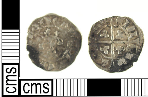 A resized image of A Medieval silver coin: halfpenny of Edward III's second coinage (AD1335-43).