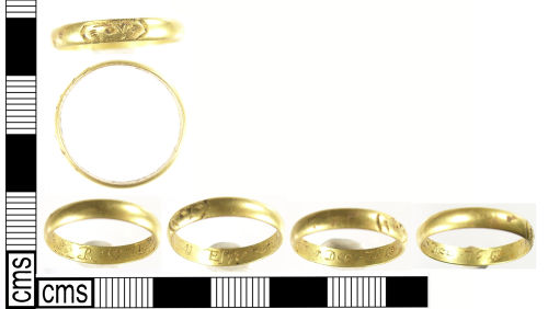LON-82B904: A complete Post Medieval gold mourning finger ring, dating to AD 1676. 2009T92