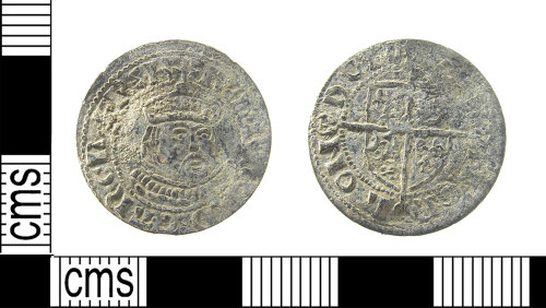 LON-B1BC84: A post medieval white metal coin, possibly a contemporary copy of Henry VIII