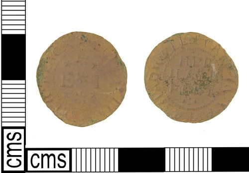 LON-8E0CE4: Post Medieval copper alloy token from Shadwell, London.