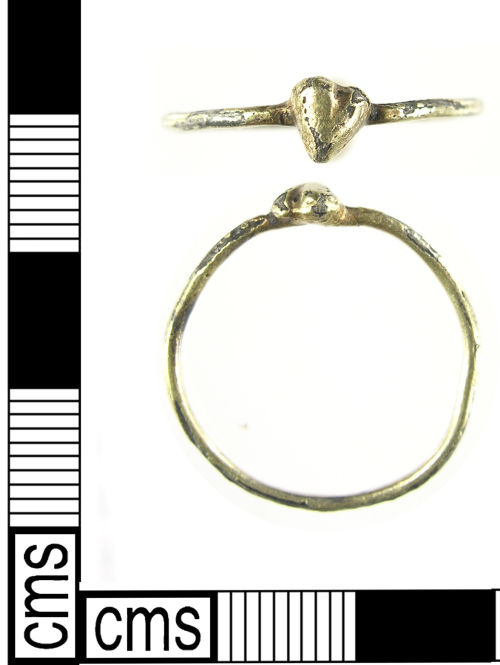 LON-EEA588:  Medieval silver gilt finger ring dating to the 15th century.