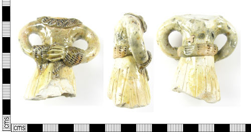 LON-FC8206: A Post Medieval ceramic incomplete German Whiteware figurine dating to the 16th century.