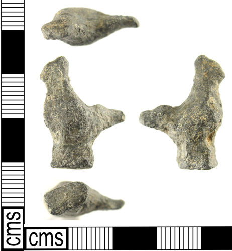 LON-84F568: A Post Medieval lead alloy shy cock (18th century).