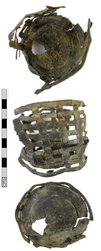 LON-98D9E2: A Post Medieval lead alloy openwork vessel with bust of Charles I (early – mid 17th century).