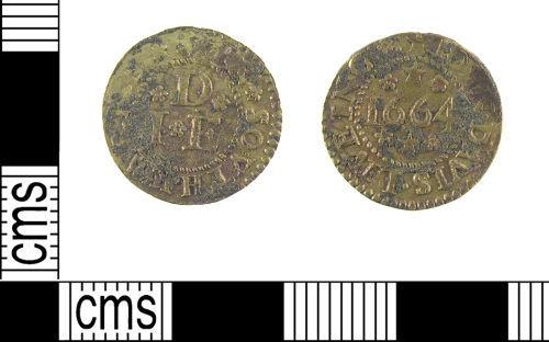 LON-6537F1: A Post Medieval copper alloy trade token farthing of John Davis, Southwark, dated 1664