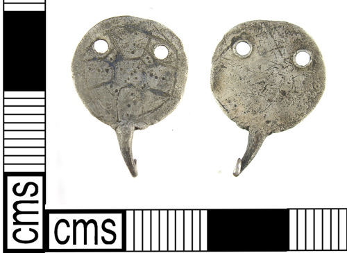 LON-EE0F14: An Early Medieval (mid - late Anglo Saxon) silver hooked tag 9th -10th century.