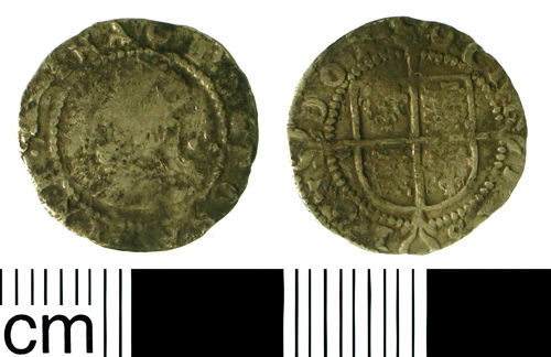 BH-43E0E8: Post-medieval coin: Halfgroat of Elizabeth I