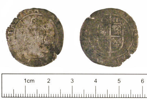 YORYM-A93FF6: Post-medieval coin : Sixpence of Elizabeth I