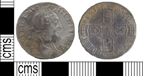 SUSS-5B4B50: Post Medieval coin: sixpence of William III