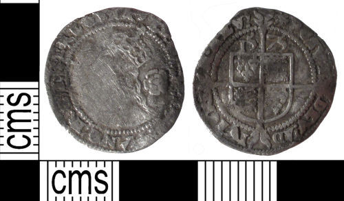 SUSS-79D122: Post Medieval coin: three pence of Elizabeth I