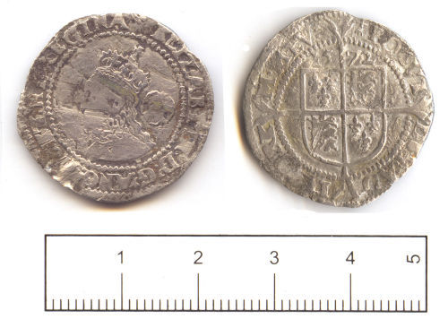 SUSS-A70B37: Post medieval coin: Sixpence of Elizabeth I