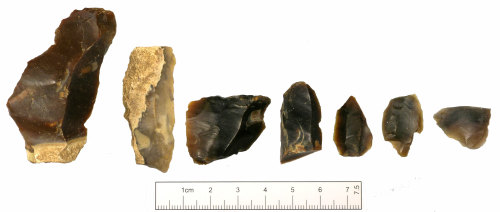 SUSS-64AC42: Seven late Mesolithic to Neolithic flint flakes, dorsal face