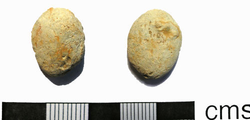 LANCUM-E6ED21: Possibly Roman-Post-Medieval Lead Object (front and back)
