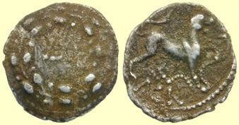 ESS-352C23: ESS-352C23 Iron Age coin: silver unit of AGR (Trinovanties)