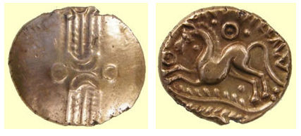 A resized image of ESS-355648: Iron Age coin: 'Trinovantian L' gold stater of Dubnovellaunos