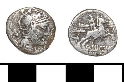 ESS-3D8345: ESS-3D8345 Roman coin: Republican Denarius minted by Q PILIPVS