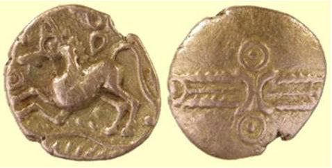 ESS-97A3F2: ESS-97A3F2 Iron Age Coin: gold quarter stater of Dubnovellaunos