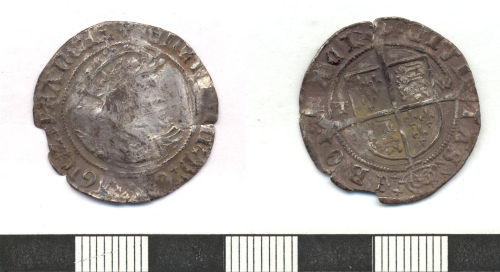 ESS-A38181: A silver groat coin of Henry VIII, second coinage, AD 1526-1544
