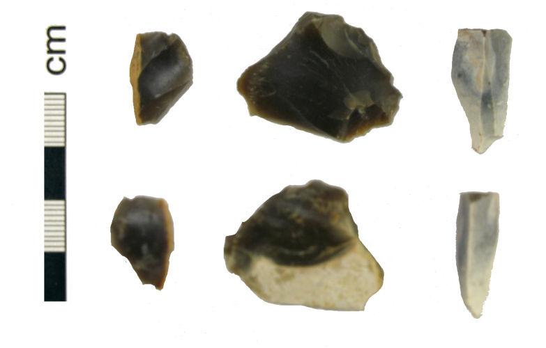 HAMP-0E5B62: Three Mesolithic flint implements