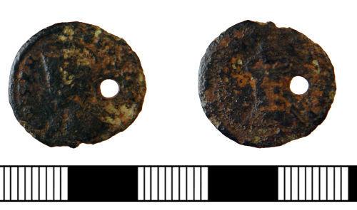 NLM-9D34F1: Roman pierced Roman Nummus of Constantine II