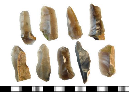 NLM-AF0937: Dorsal Face of 9 Neoltihic to Bronze Age Flint blades