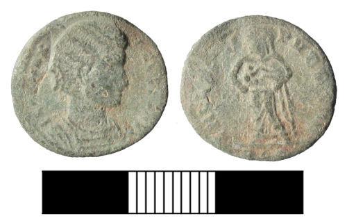SUR-4E05C1: Roman coin: a nummus of Fausta
