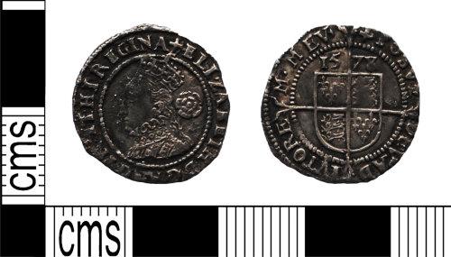 LANCUM-2DB2A8: Silver hammered threepence Elizabeth I