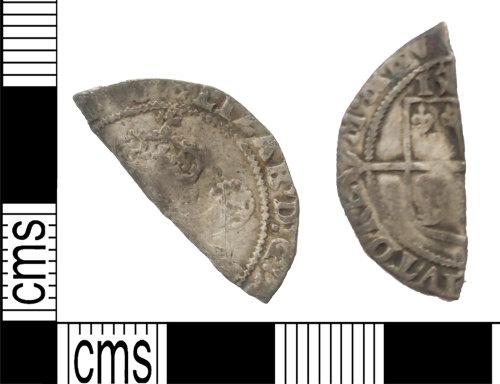 LANCUM-DF6F09: Broken silver hammered shilling of Elizabeth I