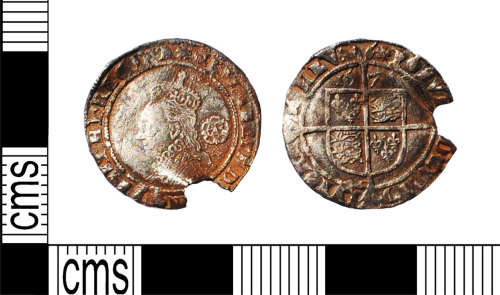 LANCUM-F28CF6: Silver hammered sixpence Elizabeth I