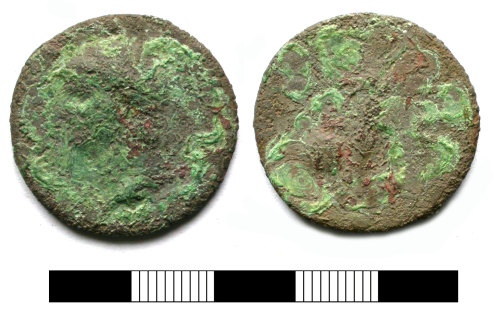 SUR-7CDFD3: Roman coin: Dupondius or as of Nero