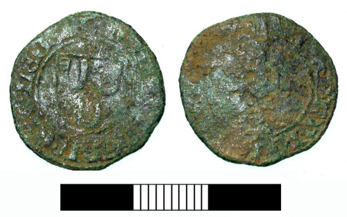 SUR-49CB05: Medieval coin: Liard of John IX, Bishop of Liege