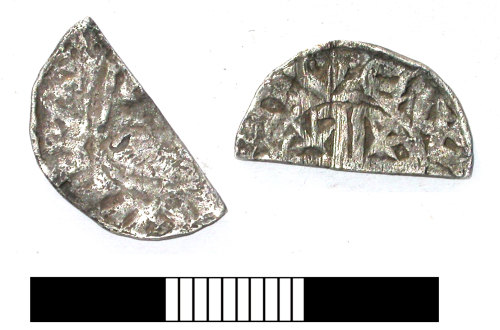 SUR-4A4074: Medieval coin: Shortcross cut halfpenny of William I of Scotland